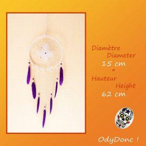 Attrape Rêves Dreamcatcher Mobile Zen Douceur Améthyste Pierre Fine Naturelle Quartz
