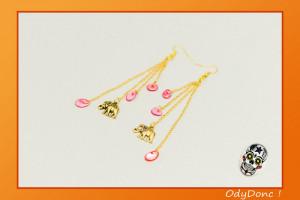 Boucles d'Oreilles Ethniques Tendance Chic Minimaliste Nature Coquillage Or et Rouge