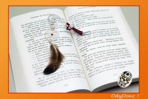 Marque Page Attrape Rêves Dreamcatcher Ethnique Ondes Positives Argent Rouge et Blanc