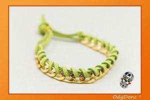 Bracelet Tendance Bohème Tressé Torsadé Suédine et Chaîne Doré Vert
