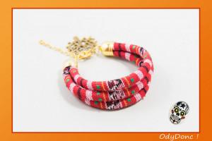 Bracelet Manchette Multi Rangs Bohème Ethnique Boho Chic Rouge et Doré