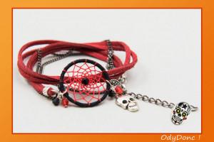 Bracelet Rock Ethnique Attrape Rêves Dreamcatcher Pendentif Artisanal Skull Calavera Double Tour