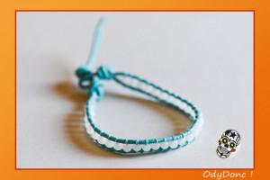 Bracelet Cuir Wrap Mixte Unisexe Minimaliste Ethnique Perle de Jade Cyan et Blanc