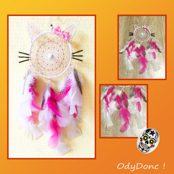 Attrape Rêves Dreamcatcher Kitty Personnalisable Mobile Forme Chat Choix COULEURS