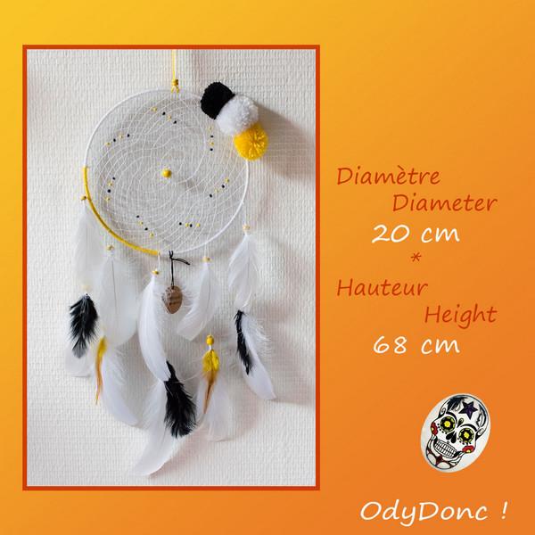 Attrape Rêves Dreamcatcher Jaune blanc et noir 20 cm